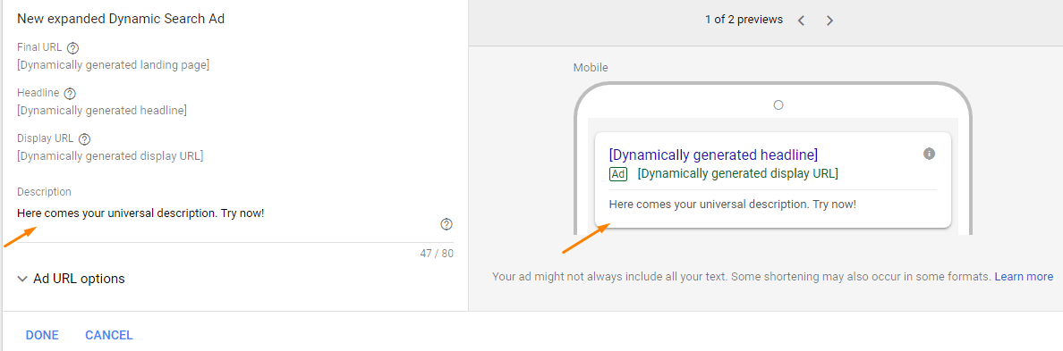 Create Dynamic Search Ad