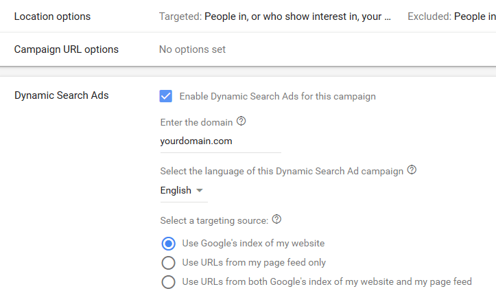Dynamic Search Ads Options