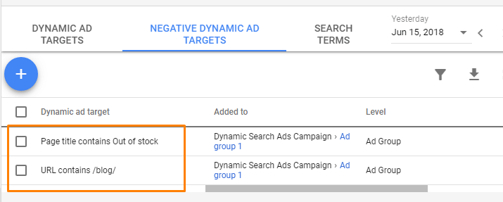 Negative Dynamic Ad Targets