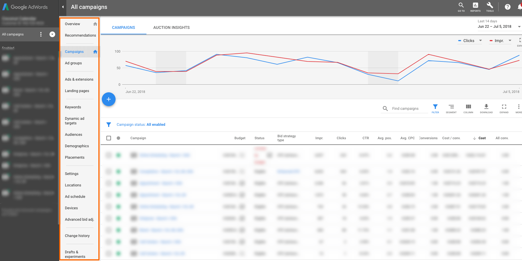 New Google AdWords Interface - Campaign Management