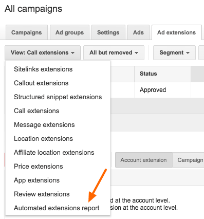 Old AdWords interface - Automated extensions report