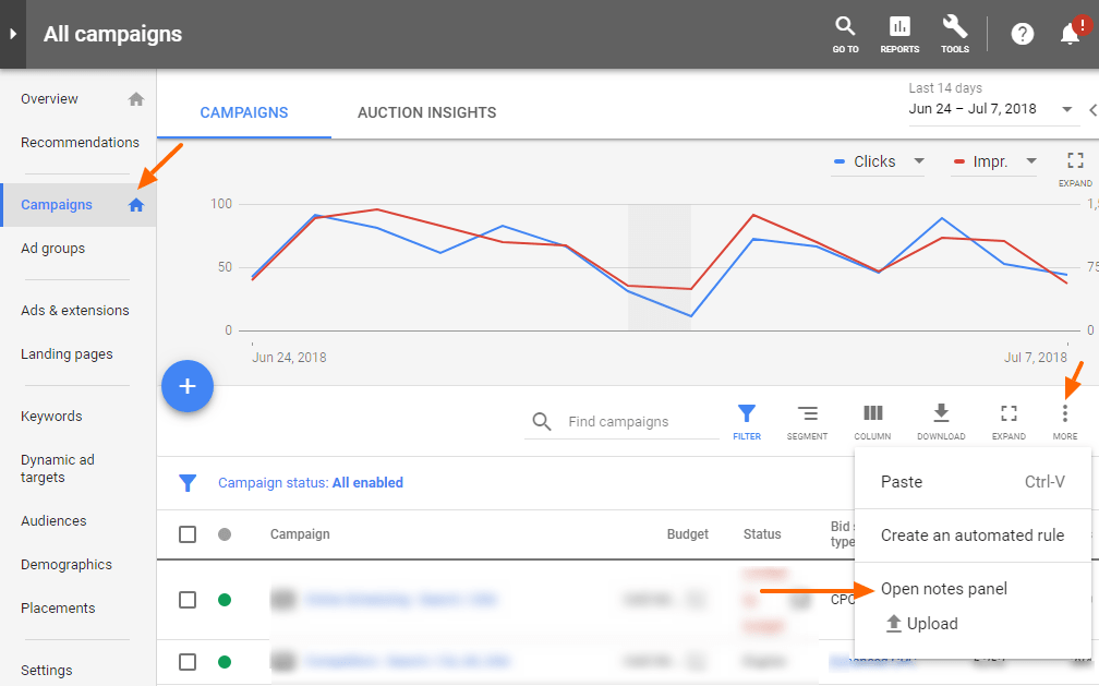 New AdWords - how to add Notes