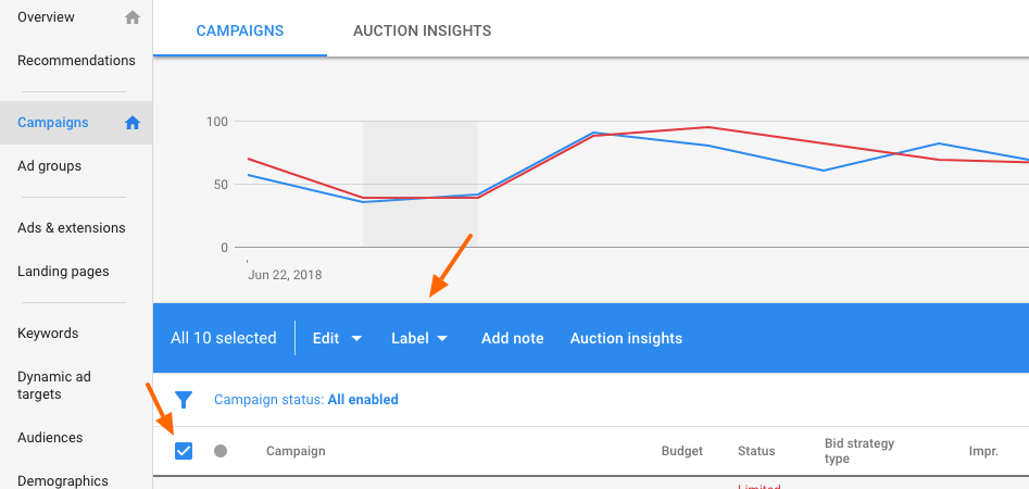 Old Adwords interface - setup labels