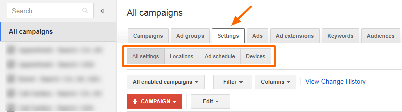 Old Google AdWords - Settings Tab