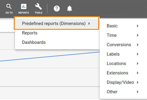adwords-new-ui-dimentions-predefined-reports