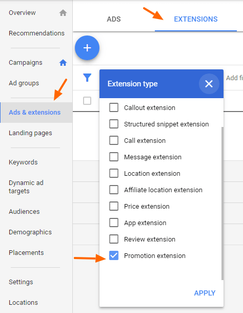 New Adwords Interface: How to Add Promotion Ad Extension