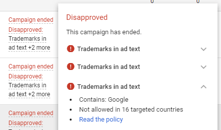 trademarks in ad copy adwords disapproved