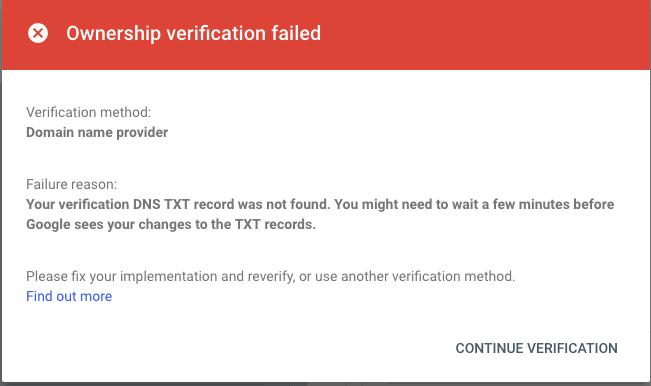 google-earch-console-domain-ownership-verification-failed-min