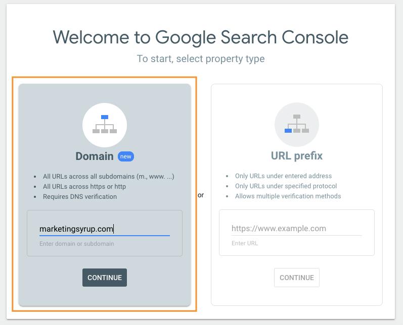 Adding Domain to Google Webmasters Console. Courtesy: MarketingSyrup