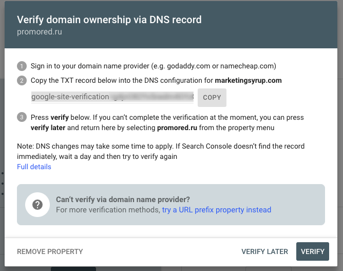 How to Verify Domain Property in Google Search Console via