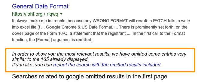 Google Omitted search results example