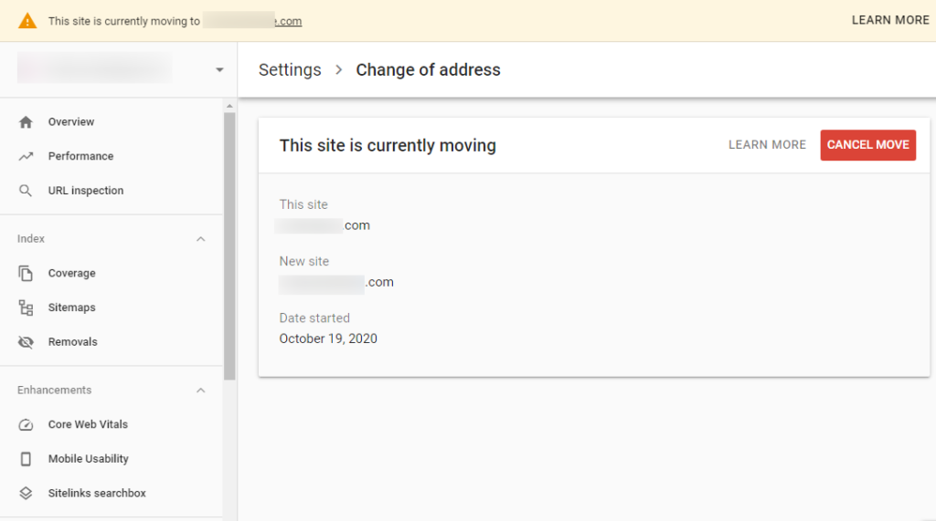 Change of address tool in google search console - website is moving
