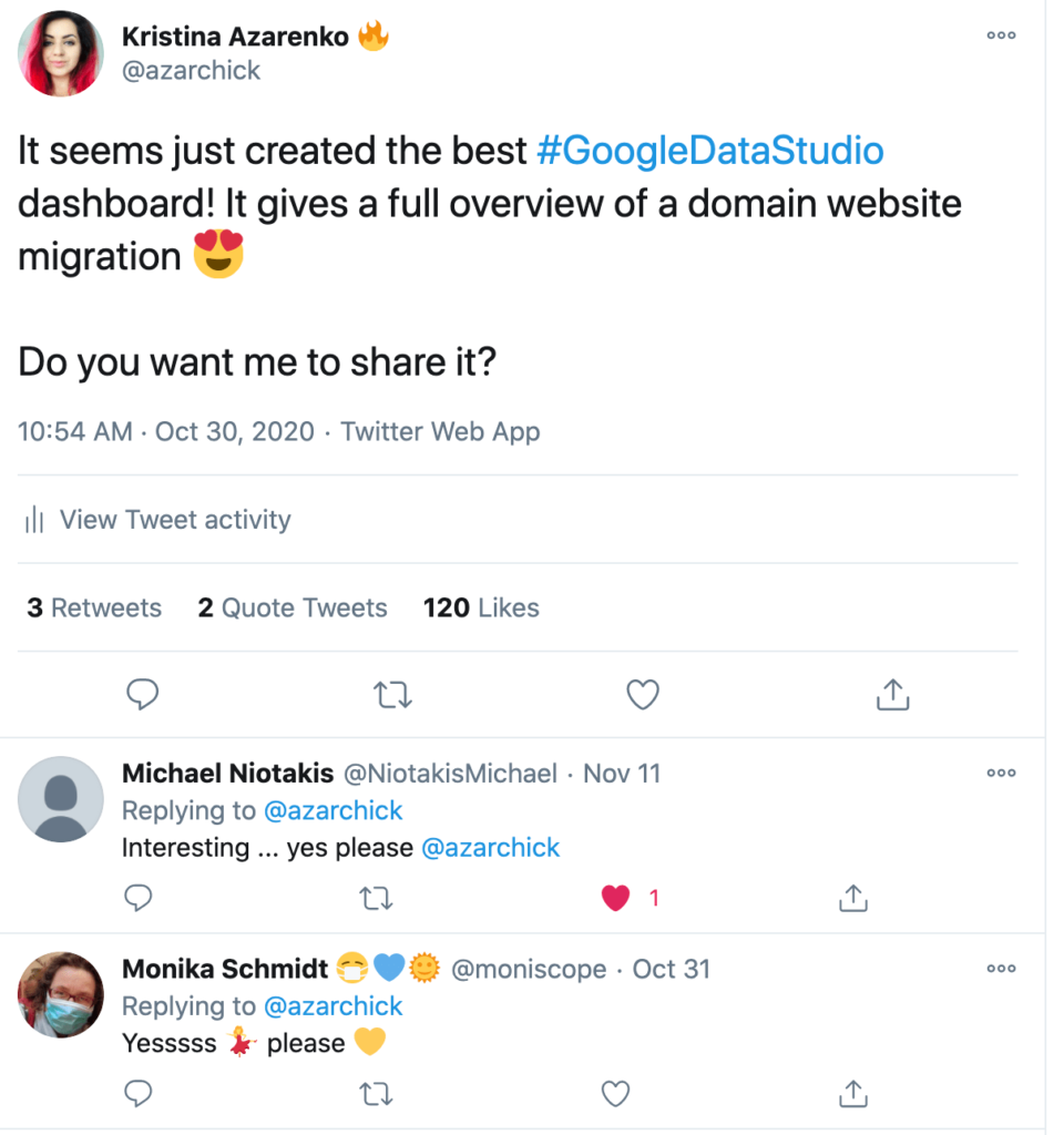 Google Data Studio - domain migration analysis - Twitter feedback